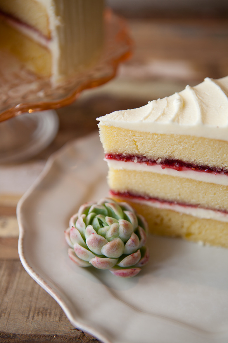 Vanilla And Raspberry Jam Layer Cake Made From Scratch