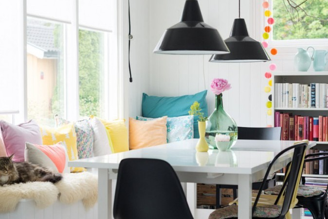 a colourful norwegian home via the feature wall