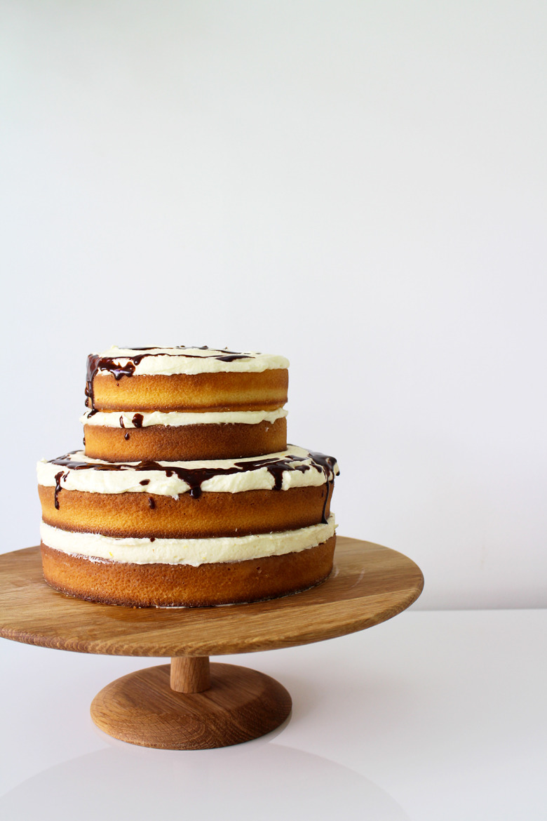 Exposed Orange And Chocolate Layer Cake Made From Scratch