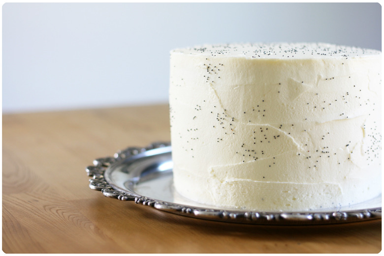 vanilla poppyseed layer cake made from scratch